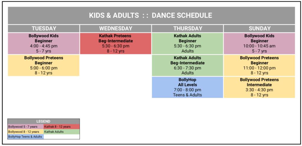 dance schedule